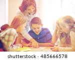 education  elementary school ... | Shutterstock . vector #485666578