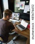 man busy photographer editing... | Shutterstock . vector #485676652