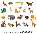 vector set of wild and farm... | Shutterstock .eps vector #485676736