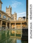 roman baths and abbey in the... | Shutterstock . vector #485683525