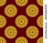 seamless yellow mandala pattern ... | Shutterstock . vector #485686405