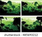 set of vector rainforest... | Shutterstock .eps vector #485693212