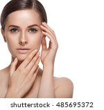 beautiful woman face close up... | Shutterstock . vector #485695372