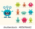 cute creature set   vector... | Shutterstock .eps vector #485696662