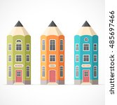 set of colorful pencil houses....   Shutterstock .eps vector #485697466