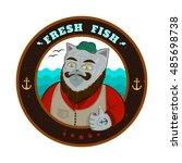 vector fresh fish logo old cat  ... | Shutterstock .eps vector #485698738