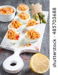 deviled eggs appetizer with... | Shutterstock . vector #485703688