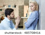 young man asking sulky... | Shutterstock . vector #485708416