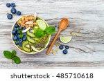 matcha green tea breakfast... | Shutterstock . vector #485710618