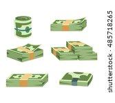 stack of paper dollar money... | Shutterstock .eps vector #485718265