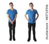 cute teenager boy in blue t... | Shutterstock . vector #485719546