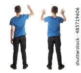 cute teenager boy in blue t... | Shutterstock . vector #485719606