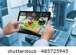 industry 4.0 concept .man hand... | Shutterstock . vector #485725945