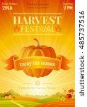 harvest festival poster. fall... | Shutterstock .eps vector #485737516