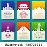 set of art ornamental travel... | Shutterstock .eps vector #485739316