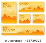 set of egypt landscape country... | Shutterstock .eps vector #485739328