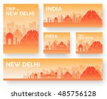 set of india landscape country... | Shutterstock .eps vector #485756128
