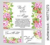 romantic invitation. wedding ... | Shutterstock . vector #485771272