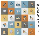 school and education icon set.... | Shutterstock . vector #485800942