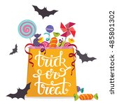 trick or treat. bag full of... | Shutterstock .eps vector #485801302