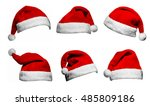 set of red santa claus hats... | Shutterstock . vector #485809186