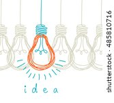vector light bulb icons with... | Shutterstock .eps vector #485810716