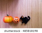 Stock photo a plastic jack o lantern with pumpkin black cat 485818198