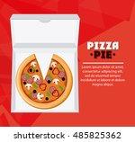 pizza pie and carton box design | Shutterstock .eps vector #485825362