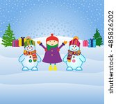snowman  vector illustration.... | Shutterstock .eps vector #485826202