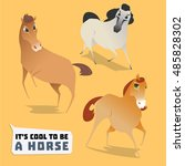 cartoon horses vector set. cute ... | Shutterstock .eps vector #485828302