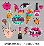 fashion patch badges with lips  ... | Shutterstock .eps vector #485830756