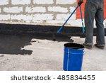 worker covered surface  bitumen ... | Shutterstock . vector #485834455