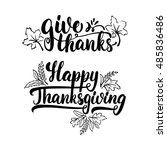 give thanks and happy... | Shutterstock .eps vector #485836486