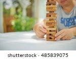 closeup of wood blocks stack...   Shutterstock . vector #485839075