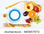 fresh fruits with tape measure... | Shutterstock . vector #485857072