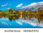 the lake  red orange trees  and ... | Shutterstock . vector #485865592