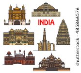travel landmarks of indian... | Shutterstock .eps vector #485866576