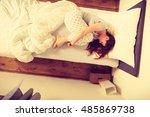 mornings people concept. sleepy ... | Shutterstock . vector #485869738