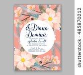 romantic pink peony bouquet...   Shutterstock .eps vector #485870212