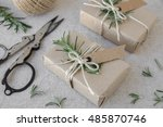 eco craft holidays gift boxes... | Shutterstock . vector #485870746