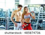 athletic couple   man and woman ... | Shutterstock . vector #485874736