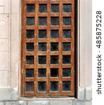 old wooden door with glass... | Shutterstock . vector #485875228