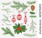 set of christmas vector ... | Shutterstock .eps vector #485878492