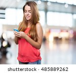 young cute woman using her... | Shutterstock . vector #485889262