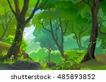 tropical jungle with tall trees | Shutterstock .eps vector #485893852