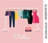 racks with clothes on hangers.... | Shutterstock .eps vector #485893975