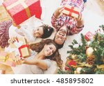 family gather around a... | Shutterstock . vector #485895802