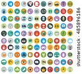 flat icons design modern vector ... | Shutterstock .eps vector #485896186