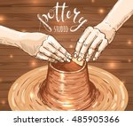 traditional pottery making ... | Shutterstock .eps vector #485905366