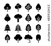 vector black tree icons set.... | Shutterstock .eps vector #485910415
